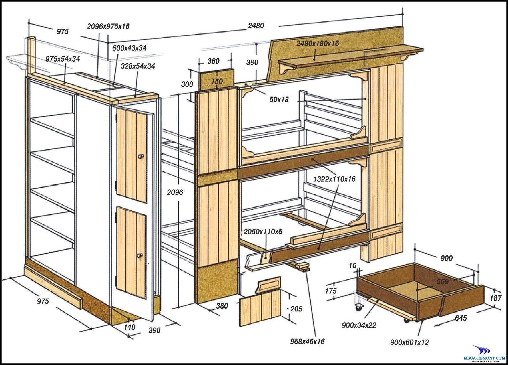 Двухъярусная кровать: варианты для детей и взрослых из дерева и металла, схемы, изготовление