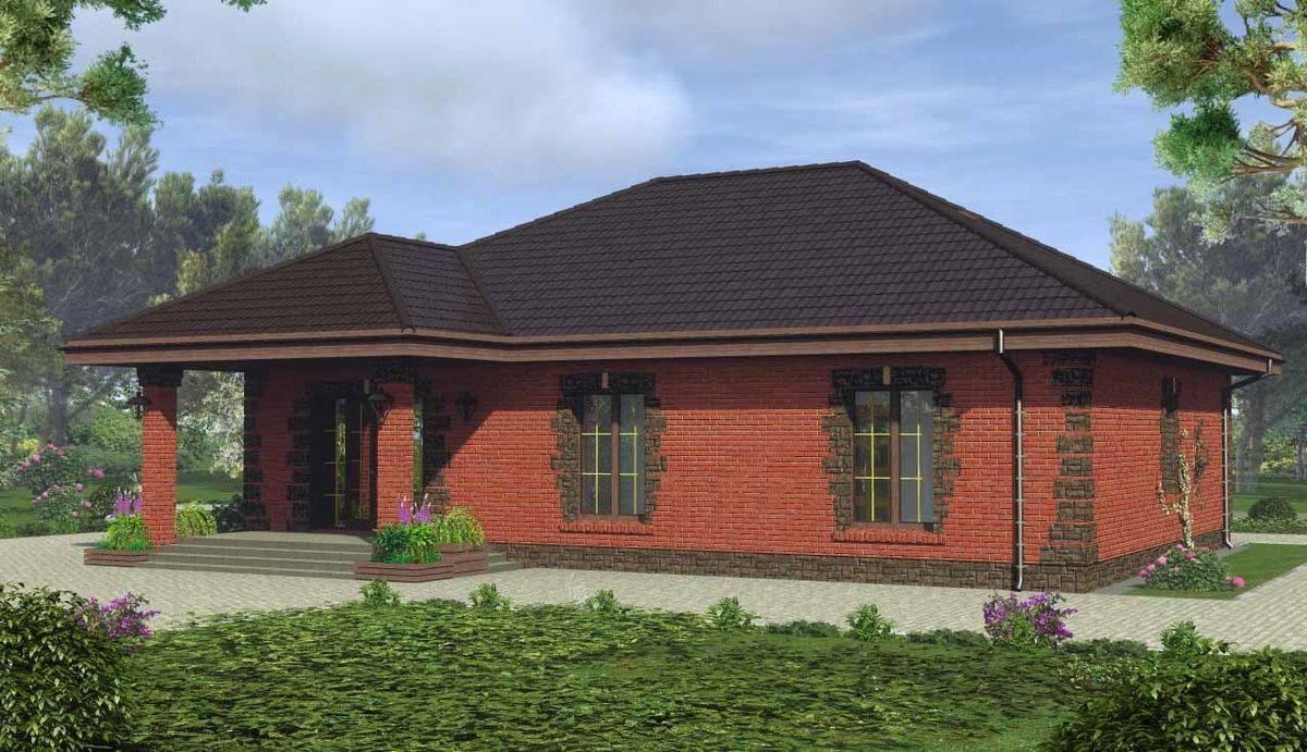Проекты кирпичных одноэтажных домов, фото чертежи
