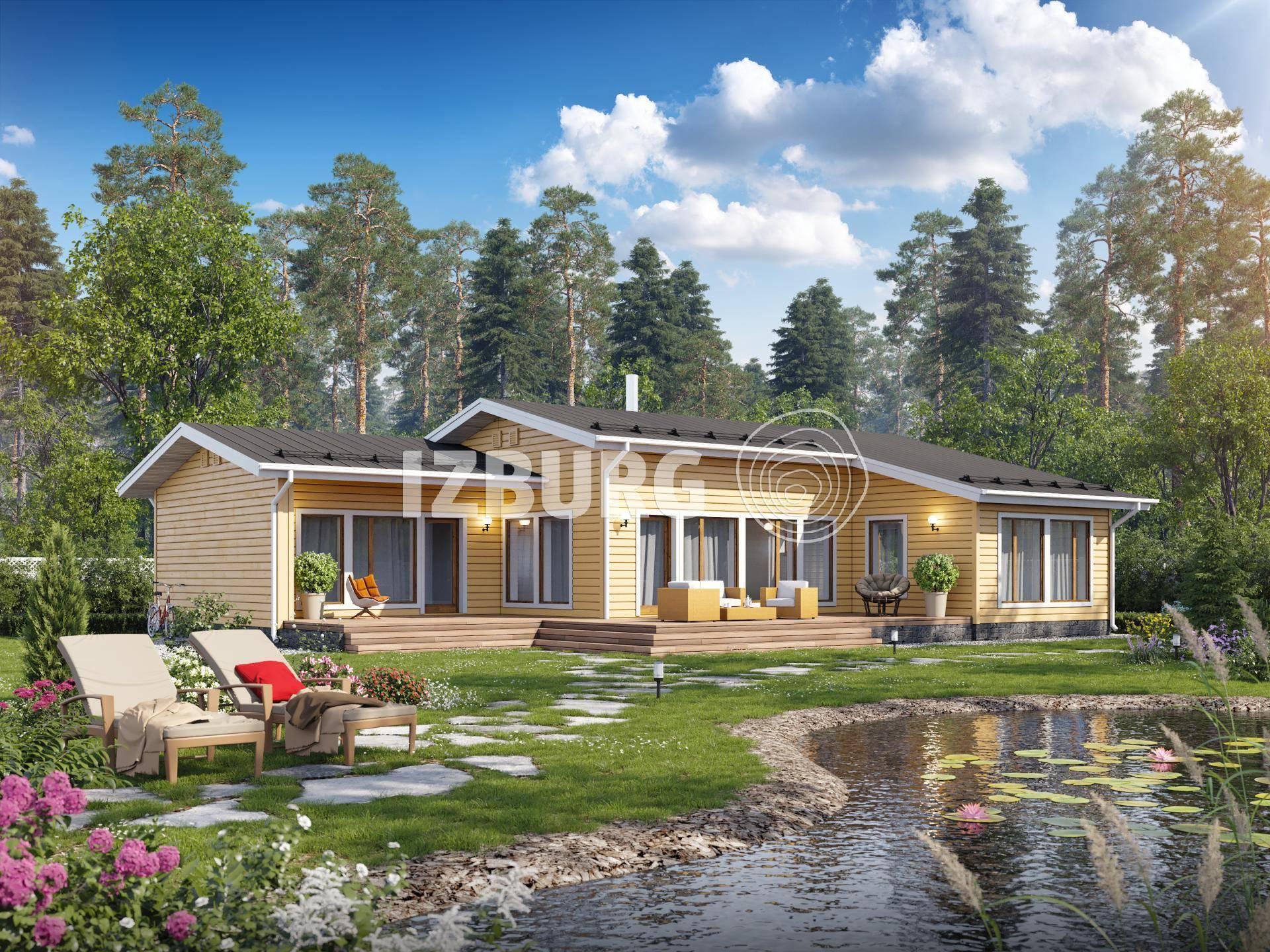 Одноэтажные дома из бруса финские с верандой, планировка