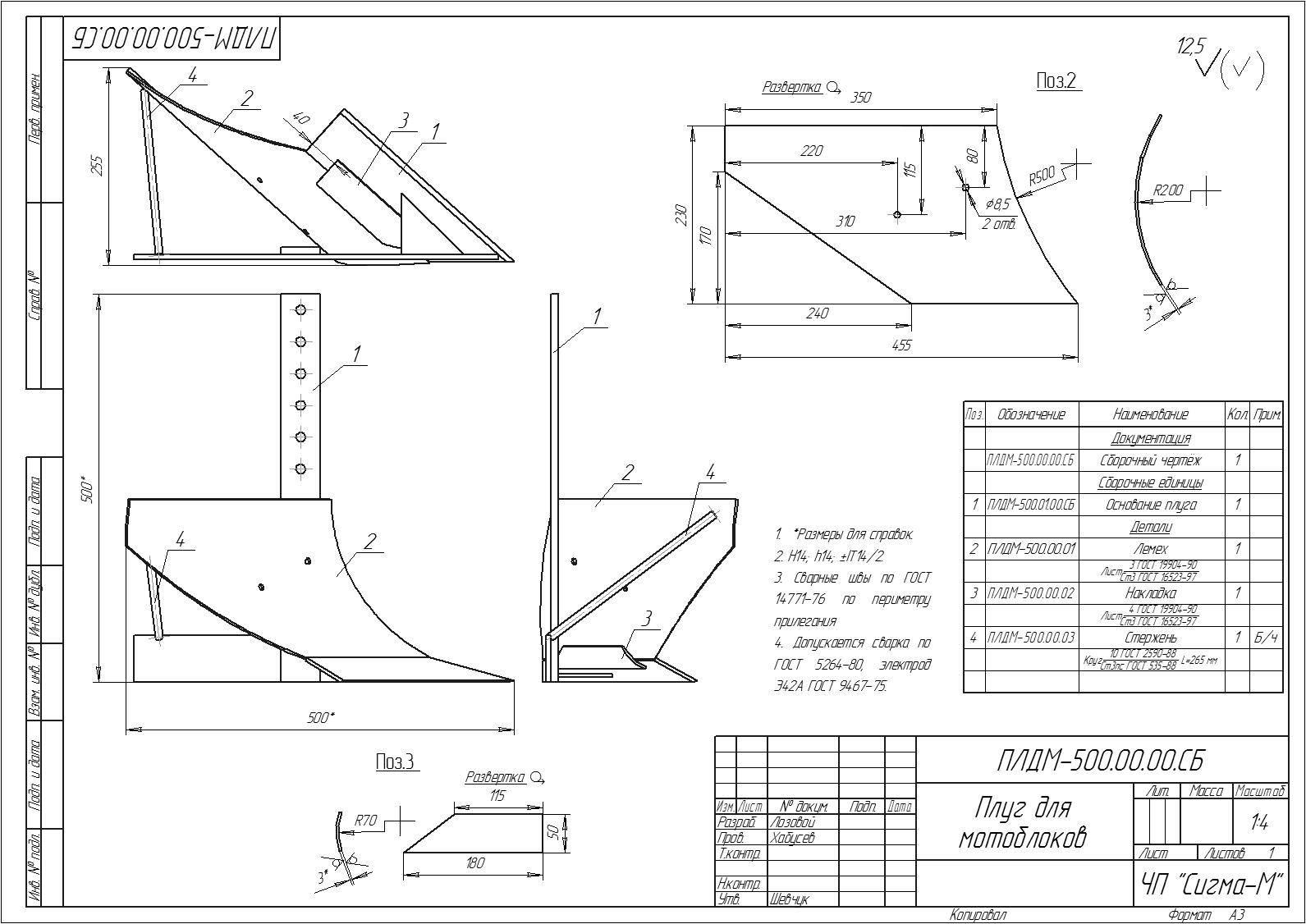 Плуг для минитрактора своими руками: чертежи и инструкция