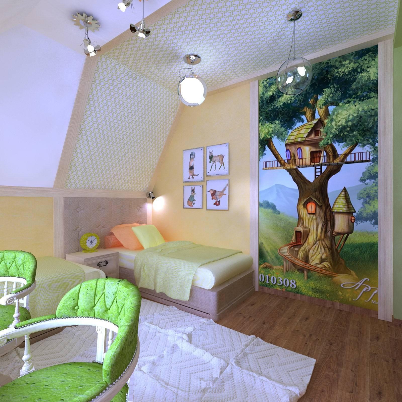 Детская комната на мансарде +75 фото идей дизайна