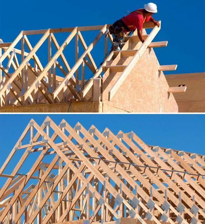 Как сделать двухскатную крышу своими руками, установка стропил пошагово с фото