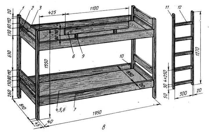 Дарим детям место для игр и отдыха, изготовив двухъярусную кровать из дерева своими руками
