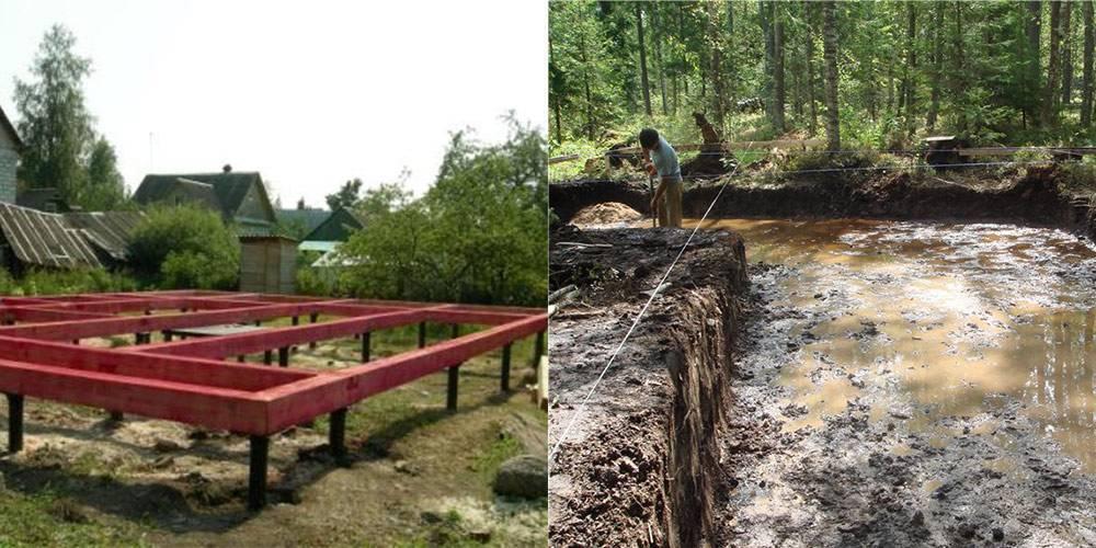 Фундамент на болоте: основание на болотистой местности при высоком уровне грунтовых вод, конструкция под дом на влажной почве своими руками