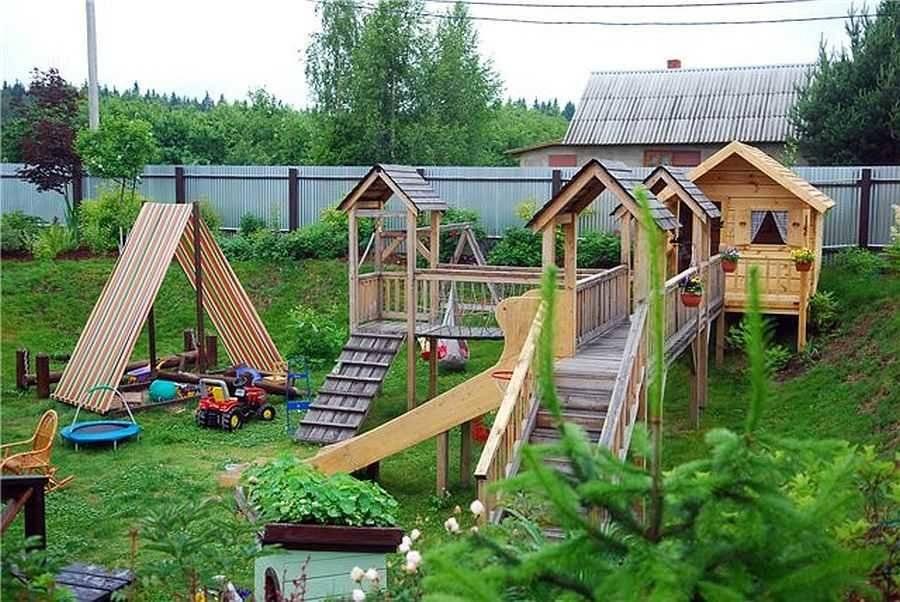 Детские площадки своими руками из подручных материалов (45 фото): идеи по обустройству уголка для детей на даче. что можно сделать из поддонов и шин?