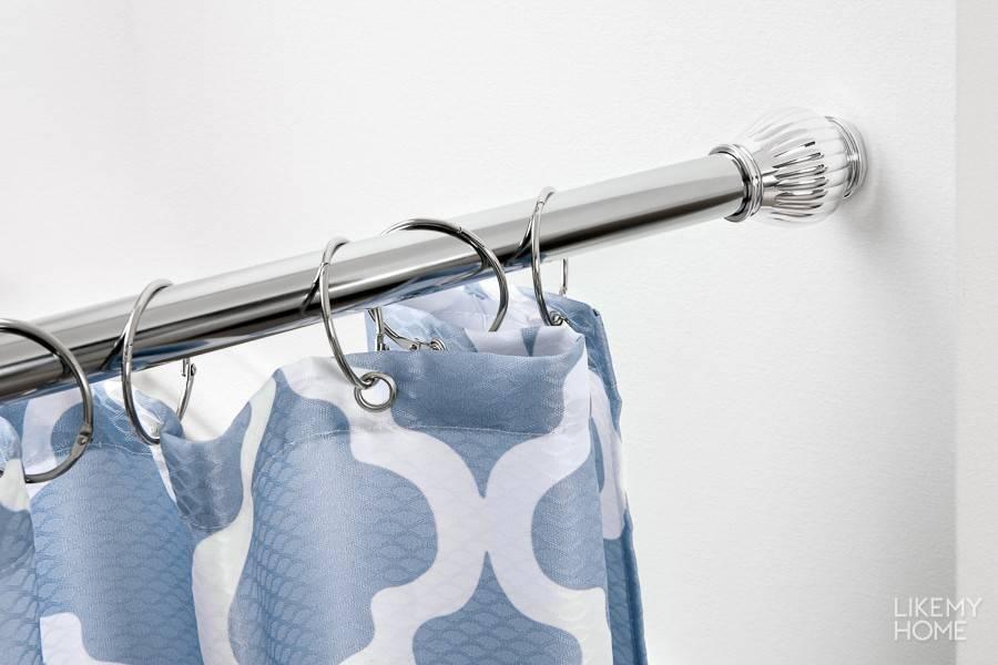 Штанга для шторы в ванную: виды, формы и установка