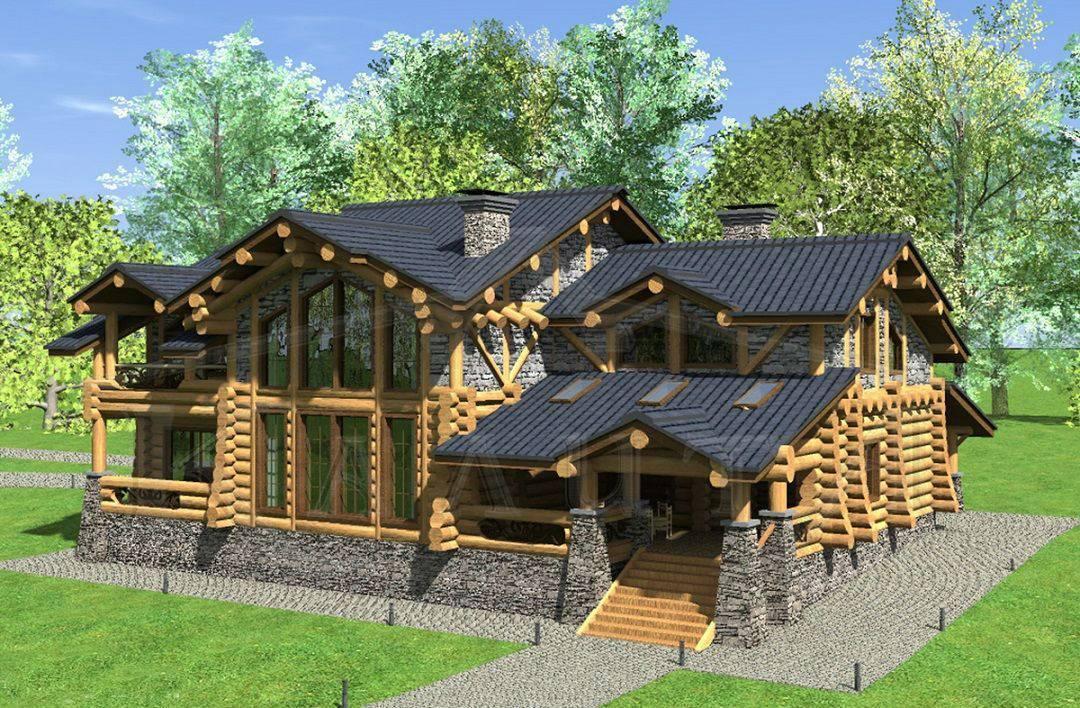 Проекты рубленных домов из бревна: фото под ключ, авторское проектирование