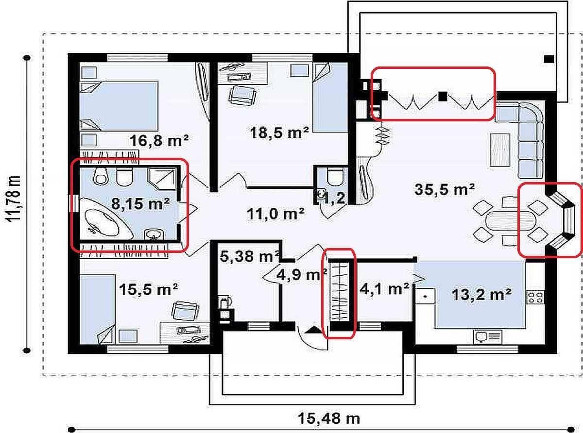 Проект одноэтажного дома с тремя спальнями 9 на 12