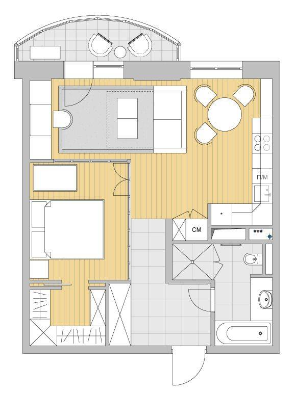 Как перепланировать двухкомнатную квартиру фото