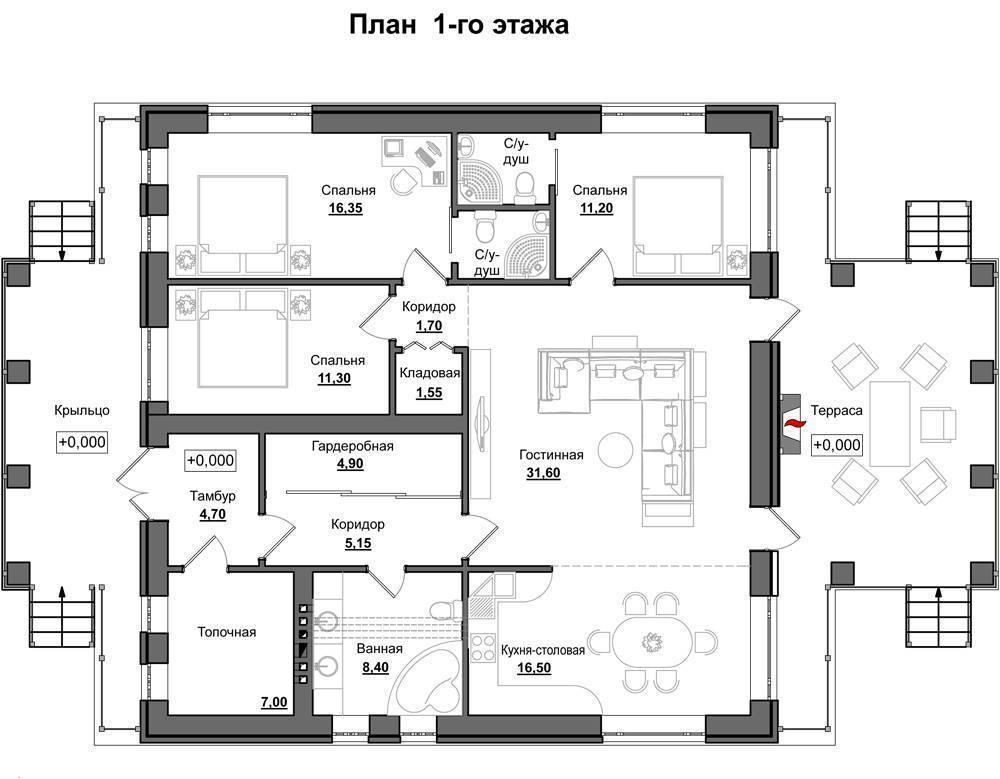 Планировка 1-этажного дома с тремя спальнями — выбираем проект по вкусу
