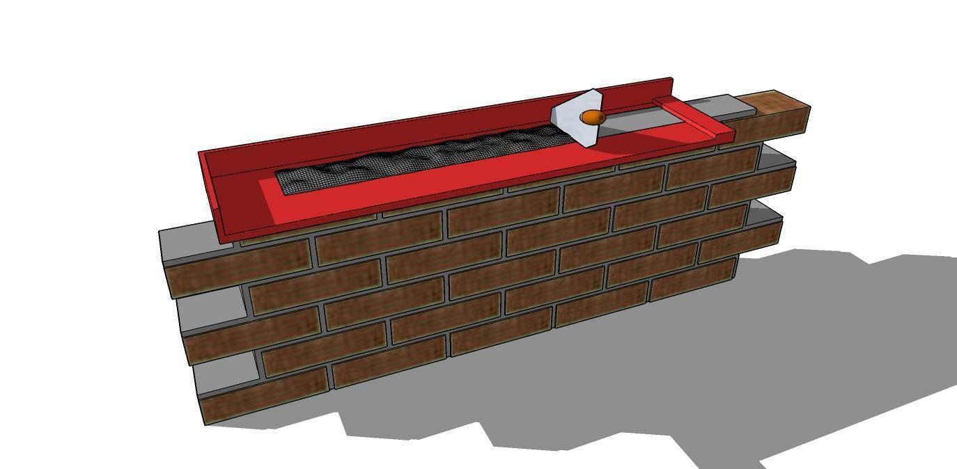 Применение шаблона для кладки кирпича