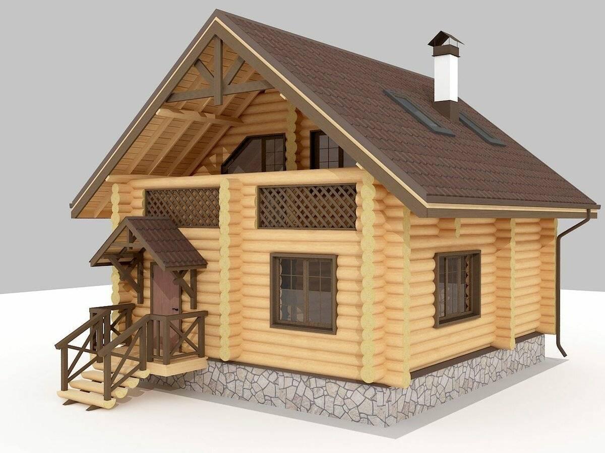 Дома из бревна 6×6 с мансардой
