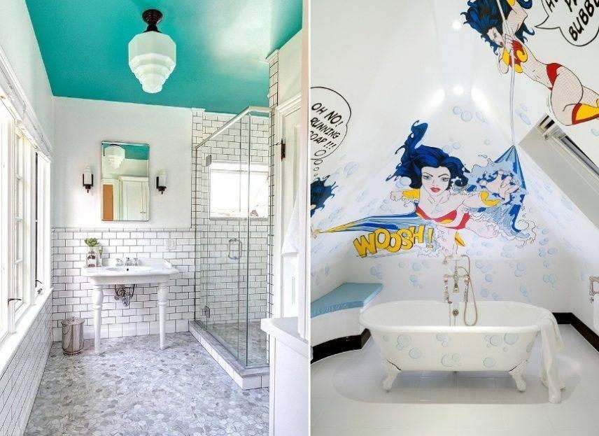 Какой краской красить потолок из гипсокартона в ванной