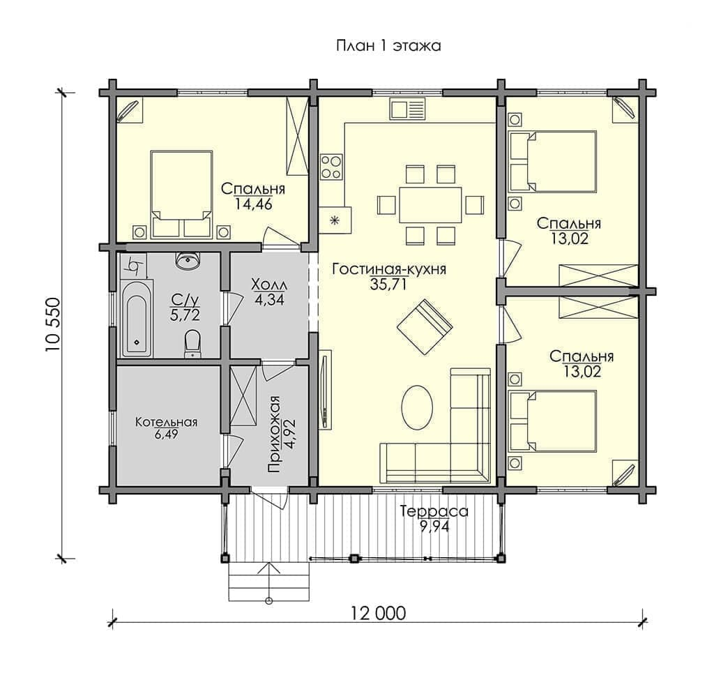 """Одноэтажные дома из бруса: проекты и цены """"под ключ"""", """"под усадку"""""""