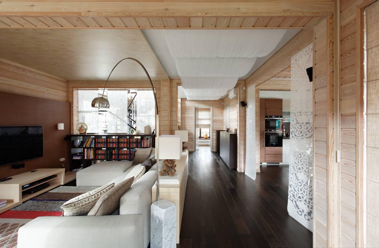 Как оформить интерьер в доме из клееного бруса