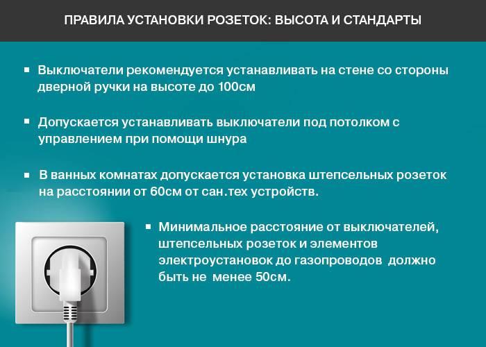 Высота установки розеток и выключателей, гост и евростандарт
