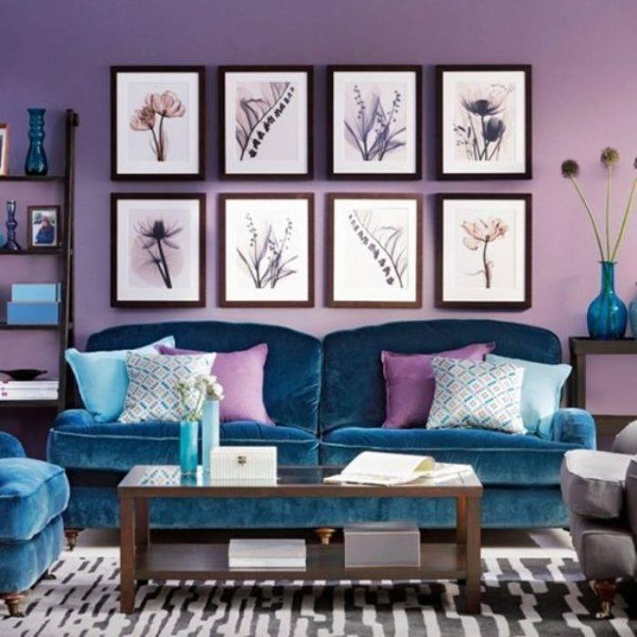 Сочетание зеленого и фиолетового в интерьере +50 фото примеров