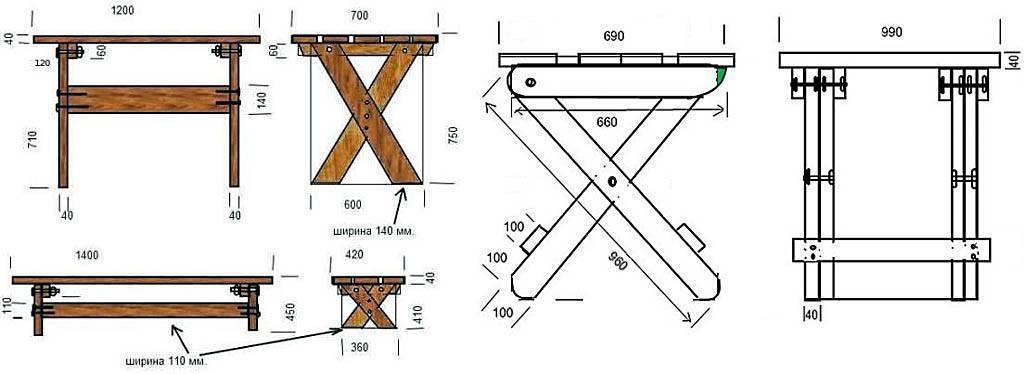 Стол для дачи своими руками: инструкции, схемы, фото
