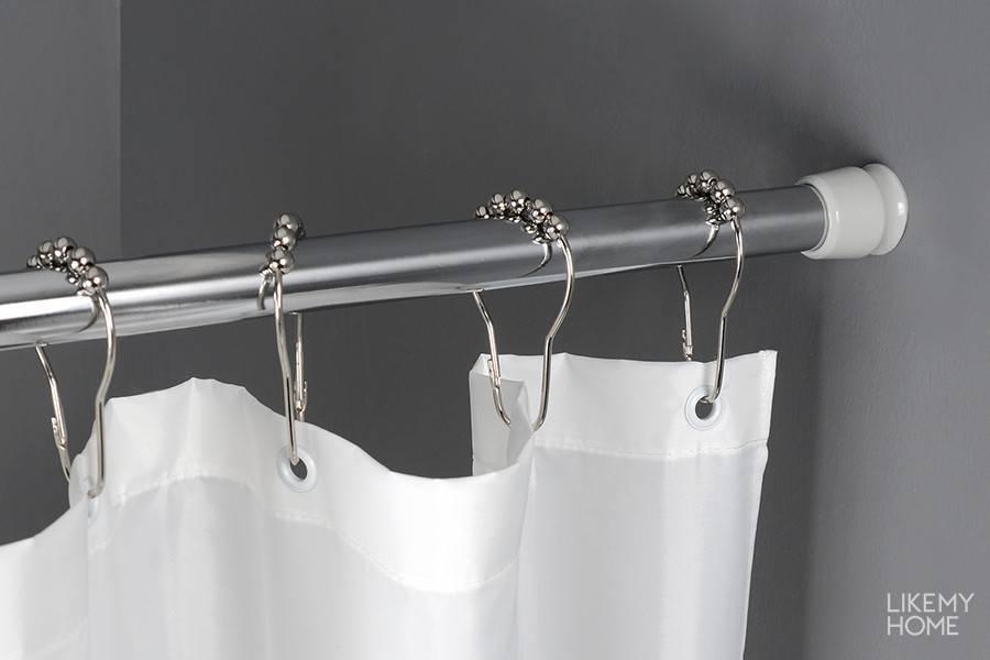 Карниз для ванной: г-образные штанги для шторы, телескопические палки для шторки и гибкие держатели, выбираем крепление для занавески для овальной ванны