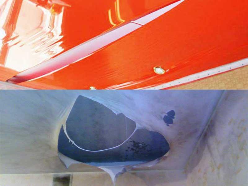 Ремонт натяжного потолка своими руками после пореза, прокола, разрыва