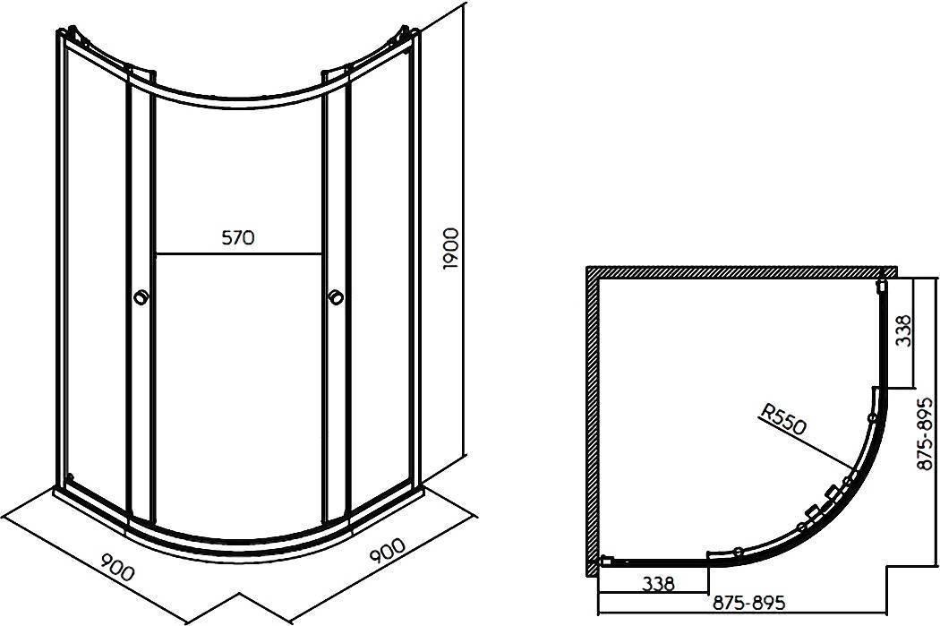 Стандартные размеры душевой кабины – габарит, большие и минимальные размеры