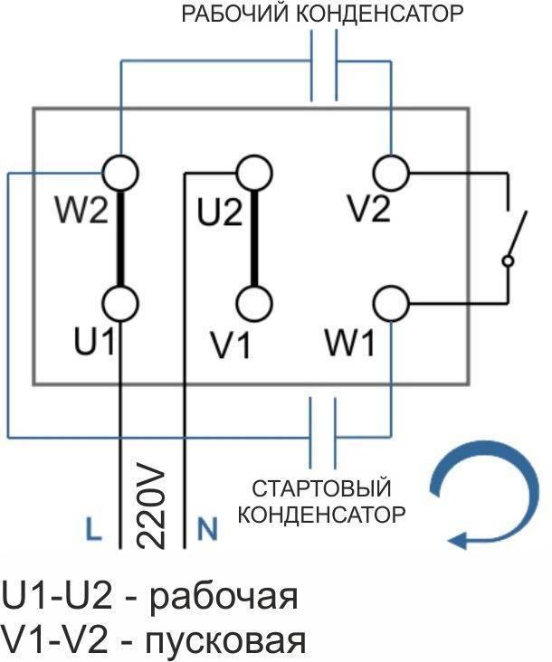 Однофазные электродвигатели 220в схемы подключения - tokzamer.ru