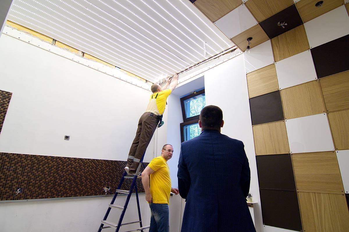 Монтаж натяжных потолков своими руками и стоимость 1 м2 с установкой