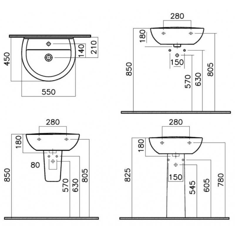 На какой высоте вешать раковину - стандартная высота умывальника в ванной
