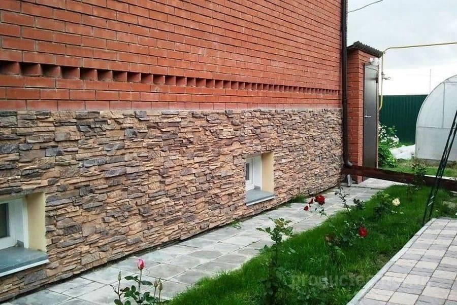 Искусственный камень на цоколь: отделка нижней части дома, цена имитации