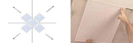 Как клеить потолочную плитку: видео-инструкция по монтажу своими руками, разметка, фото