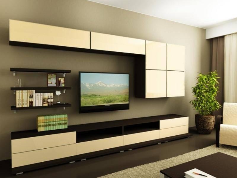 Горки и стенки под телевизор в зал: обзор видов и варианты дизайна