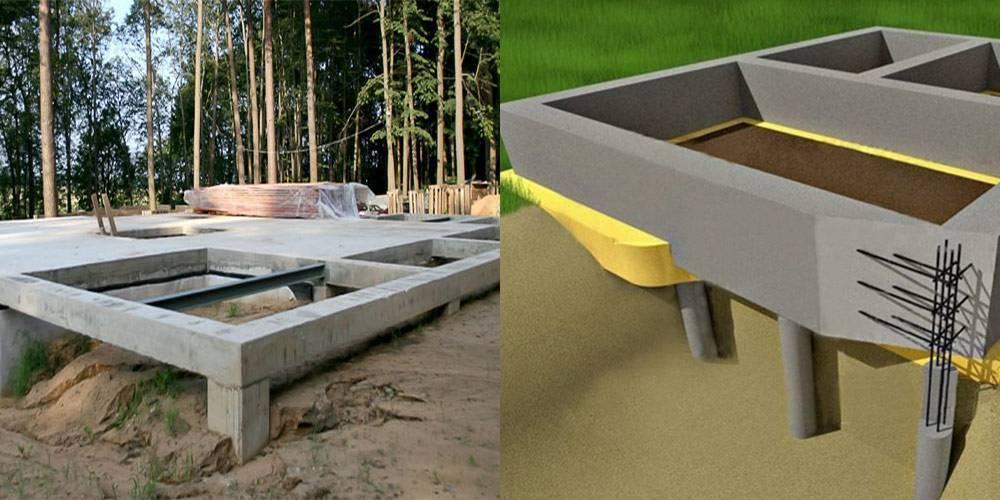 Фундамент из бетонных свай. частный дом