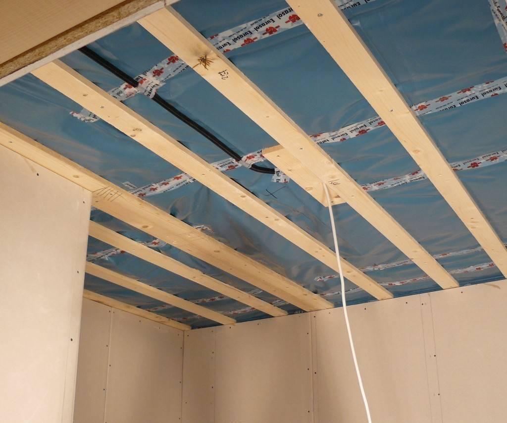 Как обшить потолок гипсокартоном по деревянным балкам