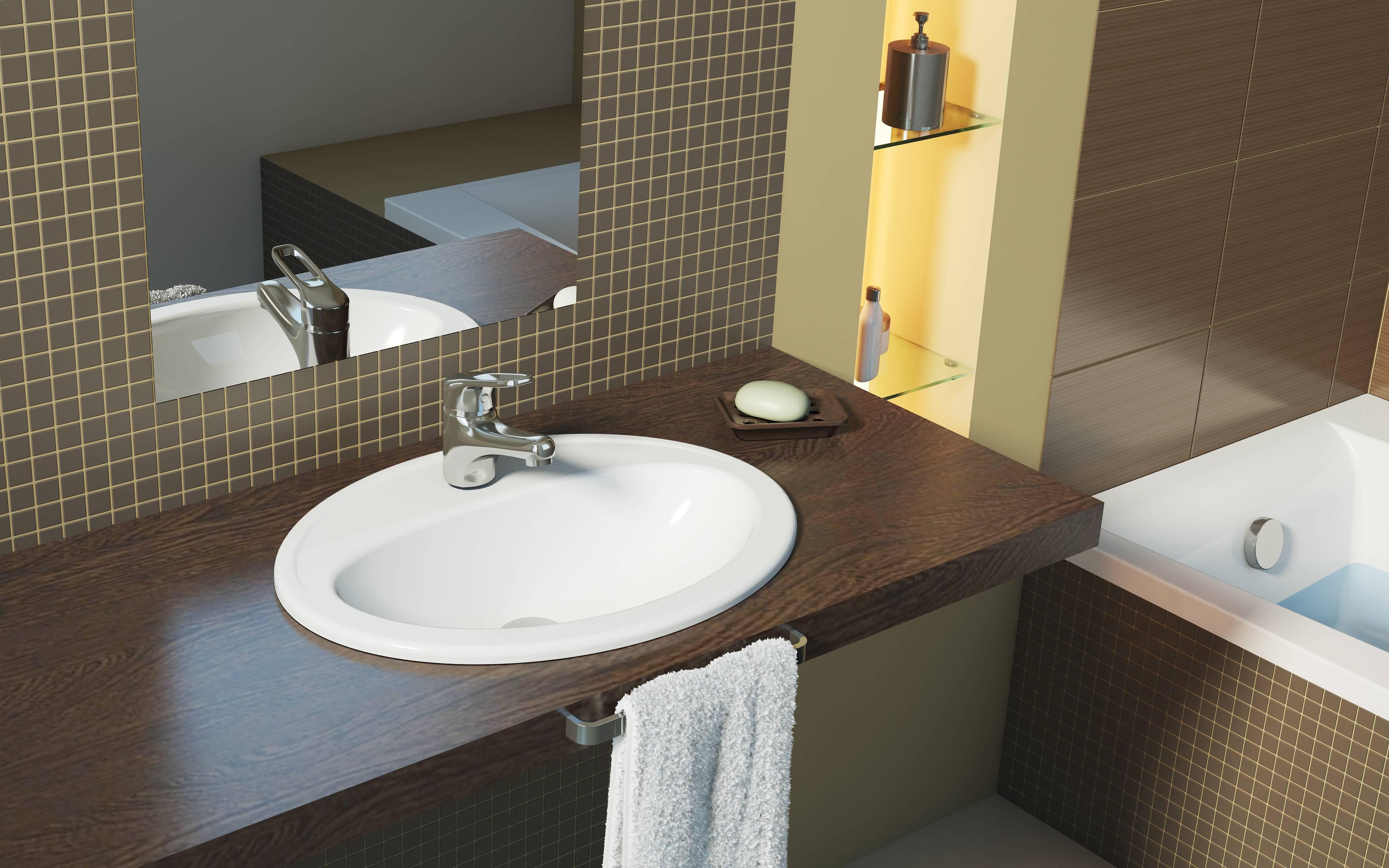Столешница для ванной комнаты под раковину: виды, выбор