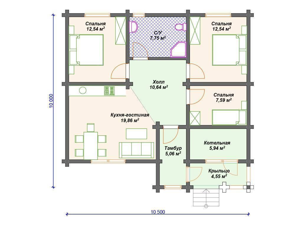 Одноэтажные дома из бруса - проекты и цены