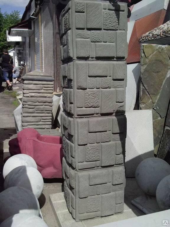 Наборные блоки для столбов забора: форма, размеры и установка
