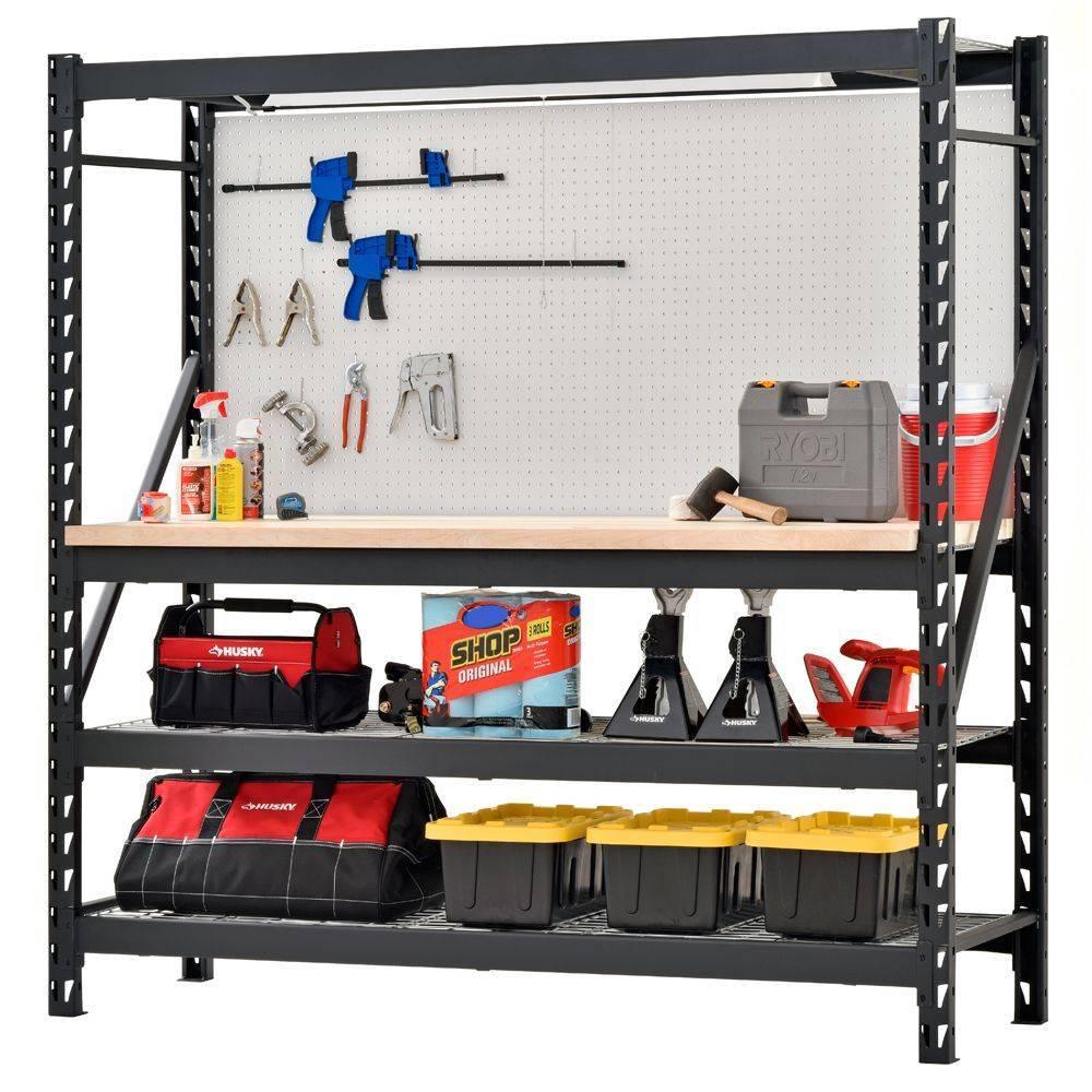 Стеллажи для гаража (73 фото): полки и системы хранения, гаражные полочки для колес и для инструмента, оборудование разборных стеллажных конструкций