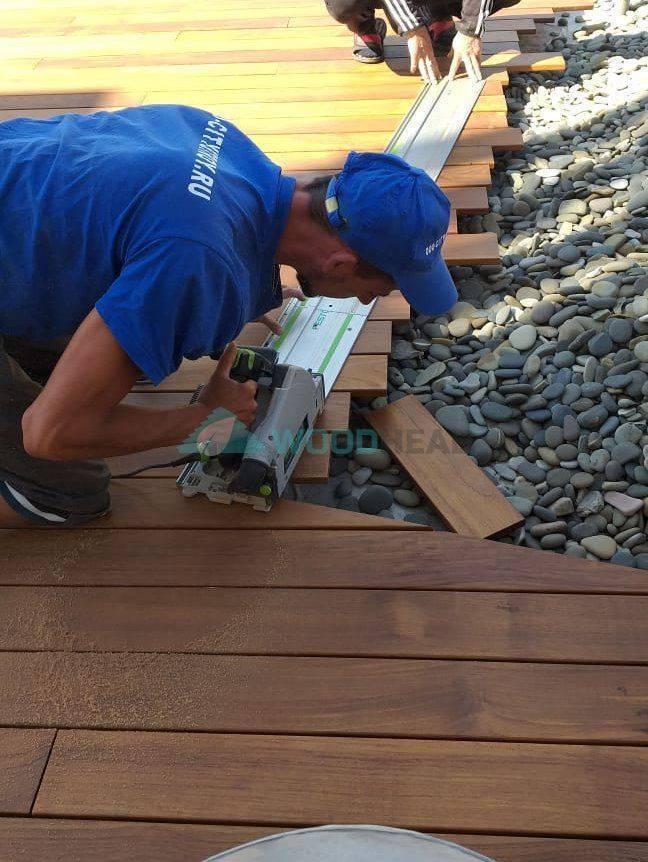 Монтаж террасной доски, полимерная : как укладывать из дпк, инструкция, технология, настил, на бетонное основание, грунт