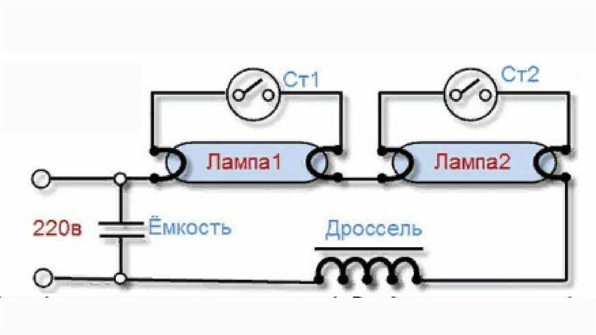 Подключение люминесцентных ламп — схема и принцип работы