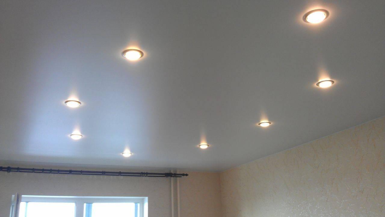 Расположение точечных светильников на натяжном потолке - схемы с примерами