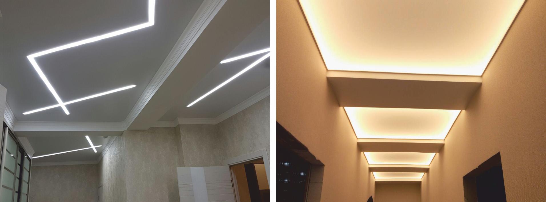 Парящие линии для натяжных потолков и профили: цена и фото с подсветкой изнутри, работа
