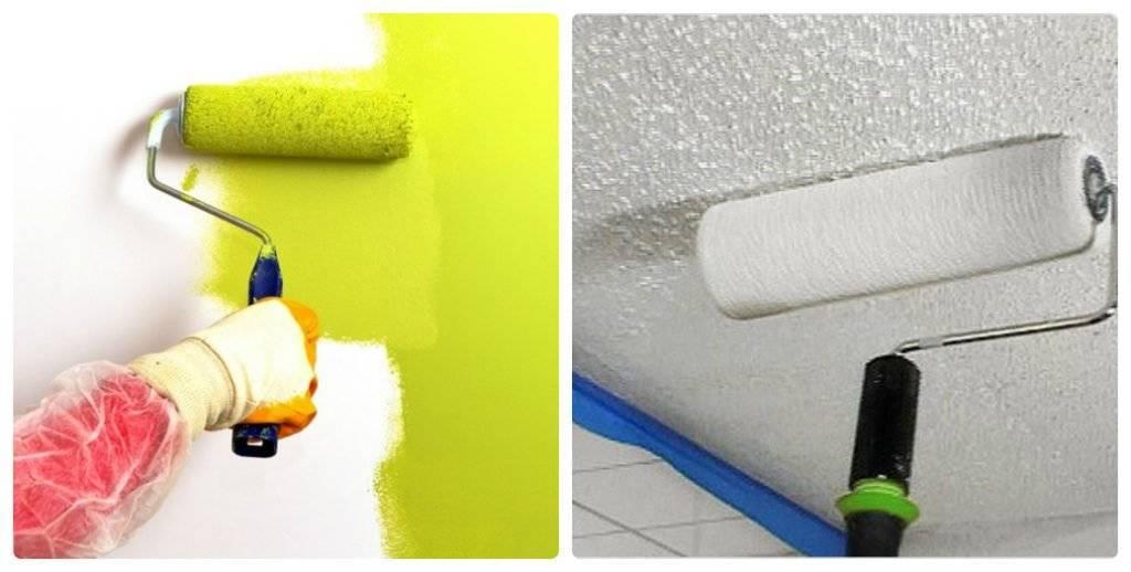 Как красить потолок из гипсокартона водоэмульсионной краской валиком видео