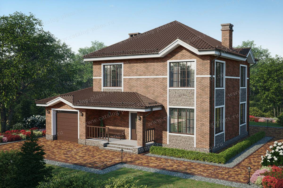 Проекты двухэтажных домов из кирпича (45 фото): красивый кирпичный коттедж 8 х 8 м в 2 этажа, простые варианты с гаражом и балконом, с эркером
