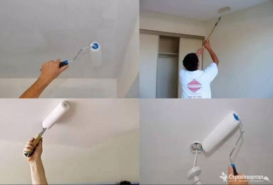 Покраска потолка цена за м2