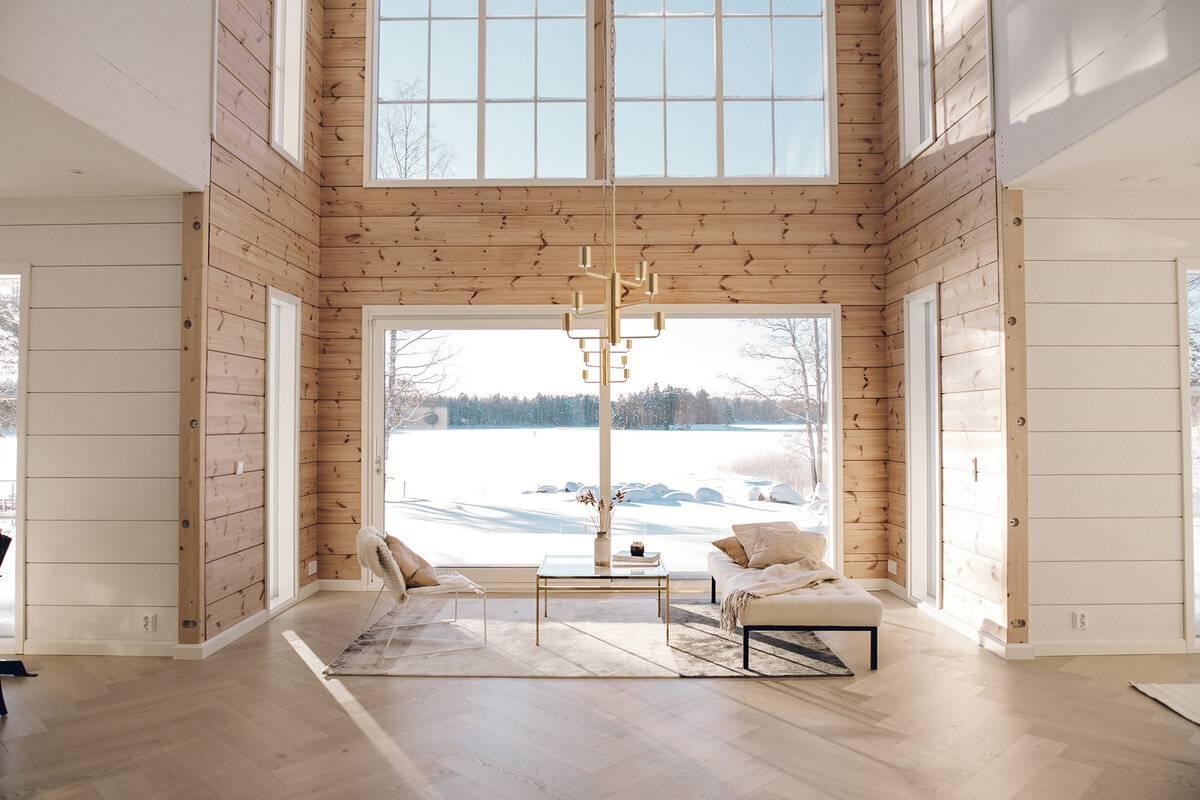 Интерьер дома из клееного бруса: оригинальные дизайнерские идеи