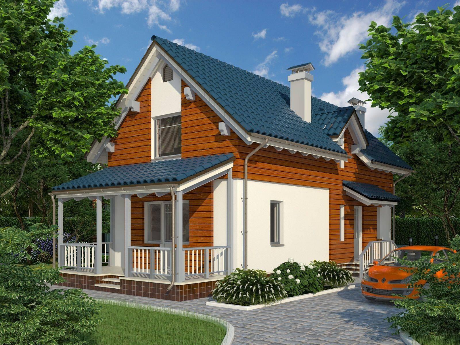 Красивые проекты домов с мансардой и террасой