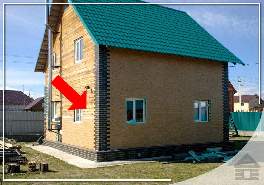 Дом из бруса обложенный кирпичом
