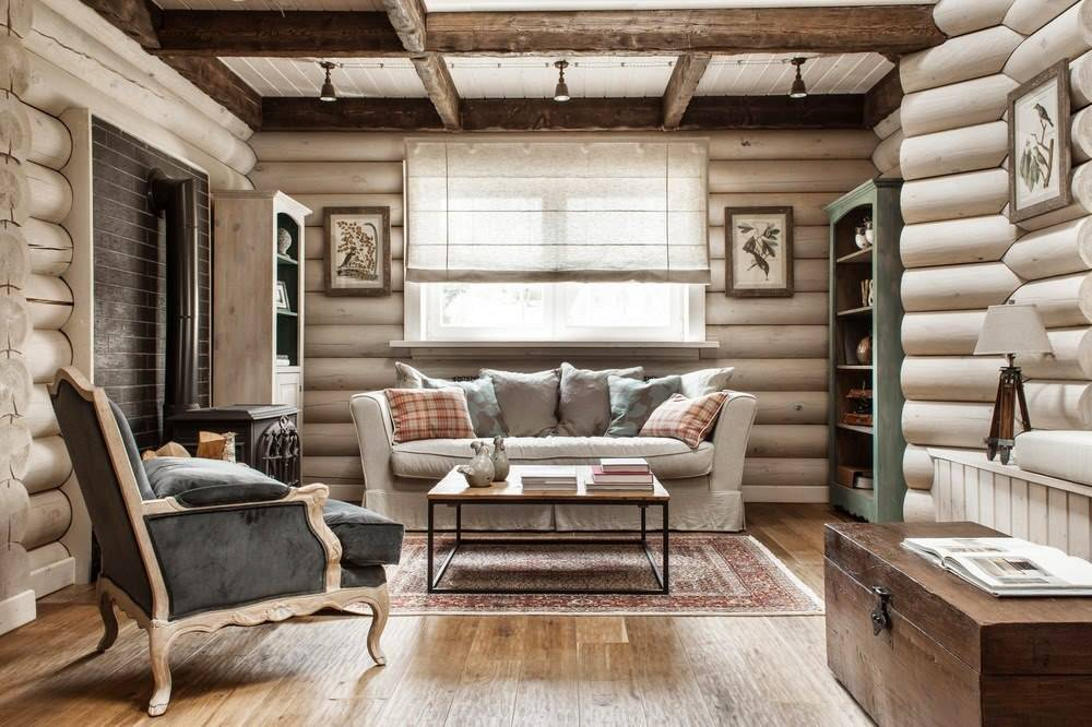 Дом шале из оцилиндрованного бревна и стиль интерьера