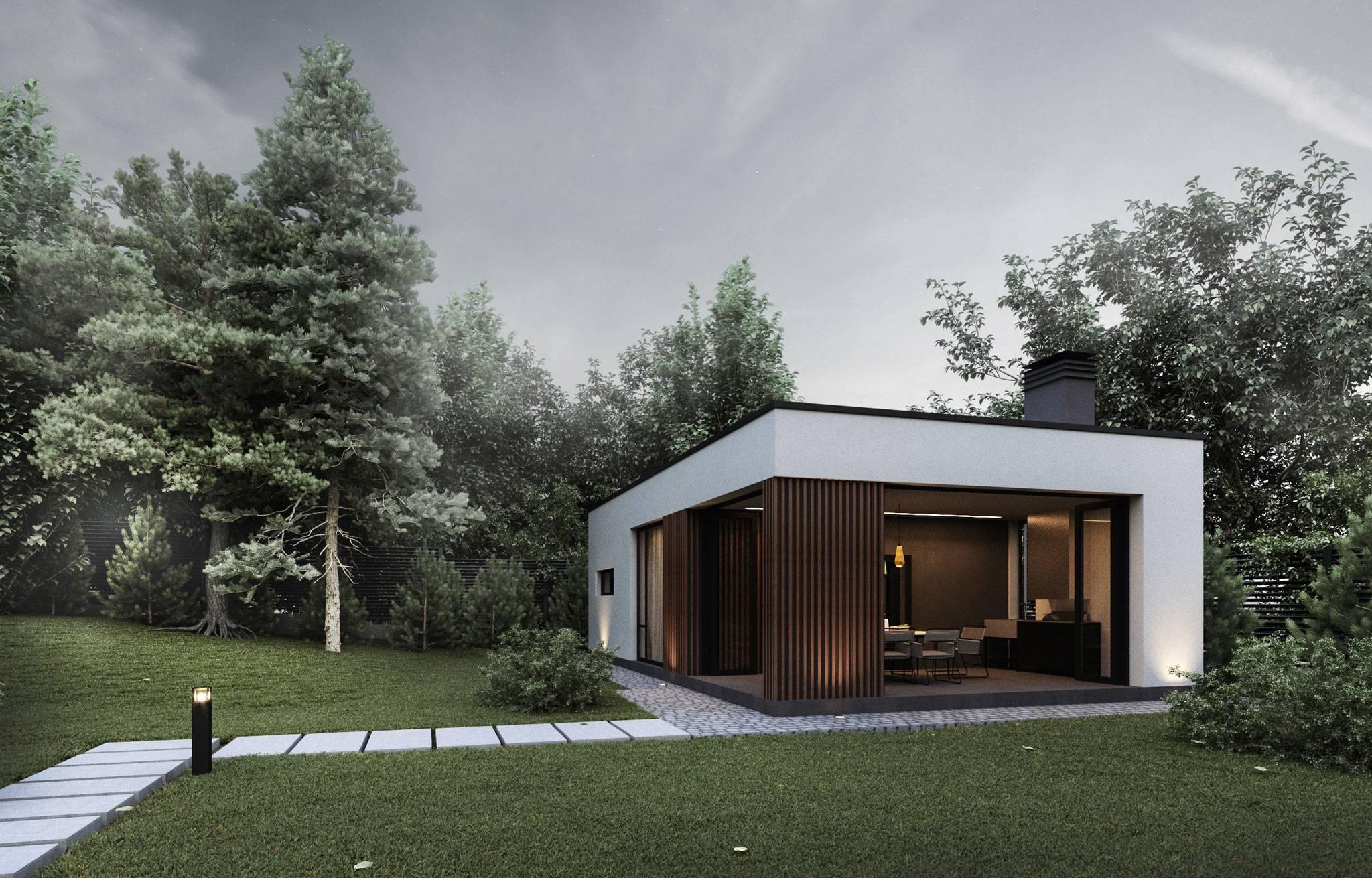 Проект одноэтажного дома хай тек 60 – 62 кв.м., с гаражом и плоской крышей, 1 спальня.