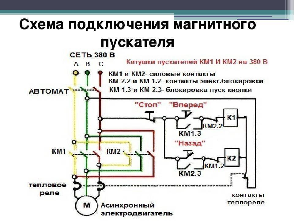 Схемы подключения: через магнитный пускатель и реле, с помощью контактора, меры предосторожности